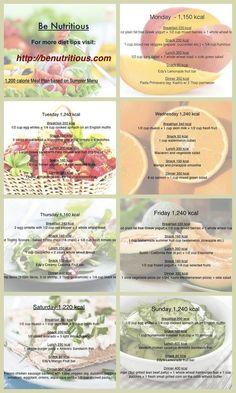 1200 calorie diet based on summer menu