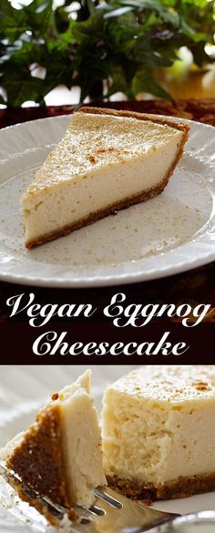 Vegan Eggnog Cheesecake The festive flavors of nutmeg and brandy are transformed into an eggnog cheesecake in this decadent but still slightly healthy vegan recipe. Vegan Treats, Vegan Foods, Vegan Dishes, Vegan Recipes, Vegan Eggnog Recipe, Cooking Recipes, Eggnog Cheesecake, Cheesecake Recipes, Dessert Recipes