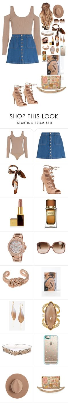 """Beige outfit 2"" by ynessica ❤ liked on Polyvore featuring Exclusive for Intermix, HUGO, Office, Dolce&Gabbana, Michael Kors, Jil Sander, Tattly, Express, Henri Bendel and Erika Cavallini Semi-Couture"