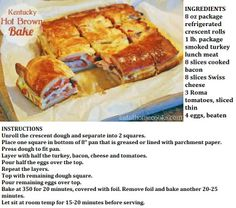 Kentucky Hot Brown Bake minus bacon of course Turkey Lunch Meat, Kentucky Hot Brown, Crescent Dough, Smoked Turkey, Food For Thought, Sliders, Super Bowl, Great Recipes, Entrees