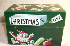 Vintage 1960'sCharming Santa Metal Christmas Card List Box Decorative Retro Holiday Tin - from TKSPRINGTHINGS Christmas Collection. $6.95, via Etsy.