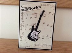 Card made for my brother with guitar die