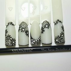 Black & White Nail Art #nails #nailart #nailtech #nailtrends #nailtrends #nailinspiration #artificialnails Nail Art Blog, Nail Art Videos, Nail Art Diy, Cool Nail Art, Art Nails, Lace Nail Design, Lace Nail Art, French Nail Designs, Cool Nail Designs