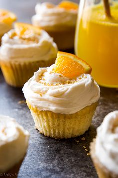 Cheers! Soft and fluffy mimosa cupcakes with champagne frosting recipe on…