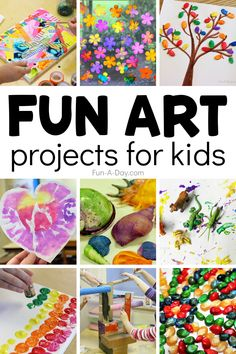 Over 45 fun art projects for kids to try any time of year. Even better, these art projects can be made with just a few simple materials. Cool Art Projects, Arts And Crafts Projects, Projects For Kids, Crafts For Kids, Art Activities, Indoor Activities, Coffee Filter Art, Pine Tree Art, Create Christmas Cards