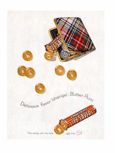 Life Savers Ad - Butter Rum Tartan Purse - 1957