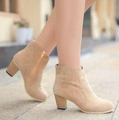 Leisure martin short Boots high quality fabric make your feet breathe freely, fashion outline make you looked cool and elegant. Side zipper can be easy put on and off, chunky Heel steady and comfortab