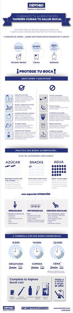 Compartimos esta infografía en la que explicamos cómo cuidando la alimentación también cuidas tu salud bucal.
