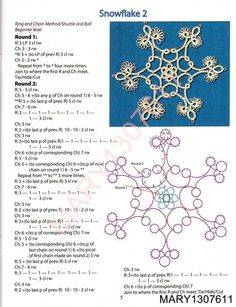 Festive Snowflakes and Ornaments for Needle and Shuttle Tatters - 2009 — Yandex. Shuttle Tatting Patterns, Needle Tatting Patterns, Crochet Patterns, Snowflake Craft, Crochet Snowflakes, Tatting Jewelry, Tatting Lace, Tatting Tutorial, Lacemaking