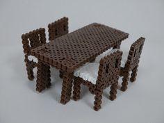 DIY Furniture table dinning perler beads Perler Bead Designs, Perler Bead Templates, Diy Perler Beads, Perler Bead Art, Hamma Beads 3d, Peler Beads, Fuse Beads, Pearler Bead Patterns, Perler Patterns