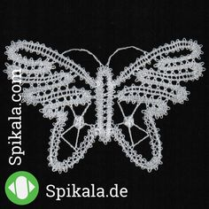 Everybody loves butterflies. Attach this cute little butterfly in Russian lace for example on your clothing.  Design by José van Pamelen-Hagenaars www.spikala.com