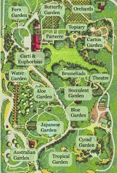 Lotusland map - 37-acre estate and botanic garden situated in the foothills of Montecito, California