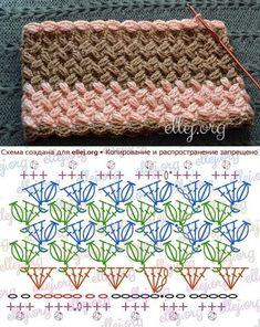 Crochet Stitches Free, Crochet Motif Patterns, Crochet Diagram, Crochet Chart, Crochet Designs, Knit Crochet, Knitting Patterns, Crochet Projects, Creations