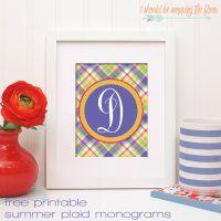 Free Plaid Summer Monogram Printables
