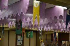 Side view of Kingdom Rock ceiling in our great hall. St. Michael's VBS 2013 ~ Bedford, TX