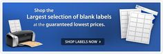 "SHAPE labels!  ""Shop the largest selection of blank labels at the guaranteed lowest prices"""