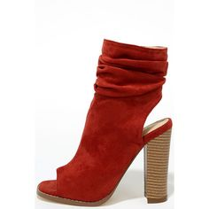 Only the Latest Cinnamon Suede Peep-Toe Booties ($24) ❤ liked on Polyvore featuring shoes, boots, ankle booties, red, slouch boots, slouchy suede boots, peep toe booties, red peep toe booties and mid calf slouch boots