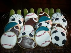 Sports themed baby shower cookies Facebook.com/SugarBlissBakeryTX