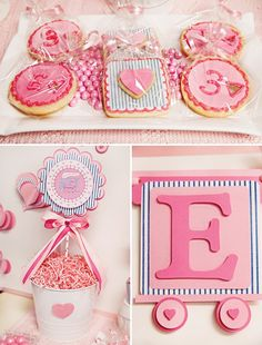 pink train party cookies and printables