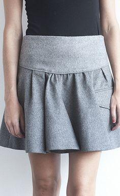 so pritty Brunello Cucinelli Heather Grey Flannel Skirt | VAUNTE