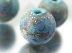 Glass lampwork beads. Made to order. Artisan bead set SRA. COTTAGE GARDEN. on Etsy, $25.56
