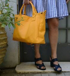 Apricot yellow crossbody bag with blue dress Mustard Top, Crossbody Bags, Tote Bag, Blue Dresses, Madewell, Contrast, Yellow, Collection, Color