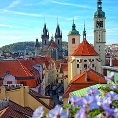 Old Town at cloudless day in Prague, Czechia  #travel #Czechia