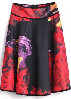 Red Black Floral Zipper Pleated Skirt US$24.80