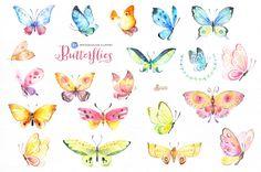 Butterflies Watercolor Set by OctopusArtis on @creativemarket