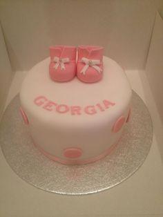 Girls christening cake baby boots www.meloscakes.co.uk