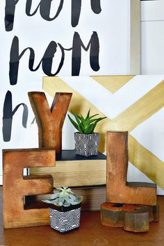 Patinating Hobby and Craft Letters with the Metal Effects Rust Patina Kit | Project by Houseologie | Monthly DIY Challenge Bloggers featured on the Modern Masters Blog