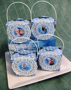 Pretty favor boxes at a Frozen party!  See more party ideas at CatchMyParty.com!