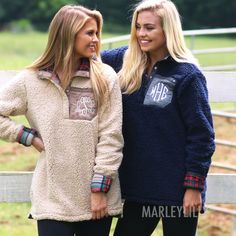 NEW ITEM! Monogrammed Reversible Sherpa Pullovers are back and better than ever! | Marleylilly