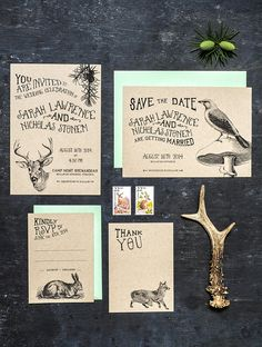 An animal wedding invitation set printable featuring animals of the woodlands…