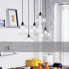 Modern brief american light transparent round ball glass pendant lamp bar lamp lamps $165.00