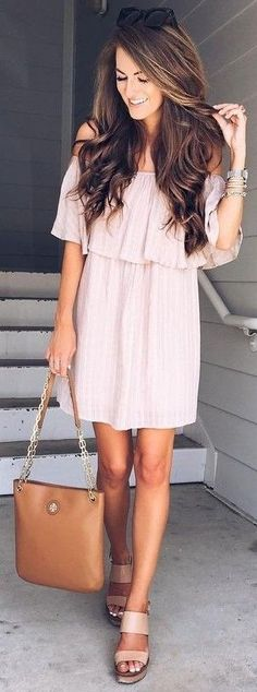 Blush Off The Shoulder Dress + Camel Leather Tote Bag    Shop this exact  outfit in the link a260eba4c