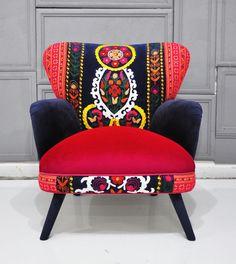Patchwork armchair with Suzani, Thai Hmong and velvet fabrics - Summer. $1,500.00, via Etsy.
