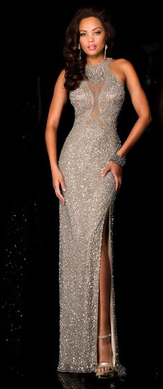 Evening Dresses Pageant Dresses by SCALA<BR>asc48625<BR>High illusion neckline long gown with bead work design on bodice, sequins skirt, high slit.