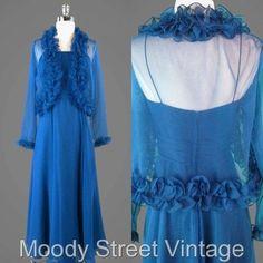 Vintage 60s 70s Dress XS Jacket 2Pc Chiffon Goddess Outfit Aqua Blue Glam  #Unknown