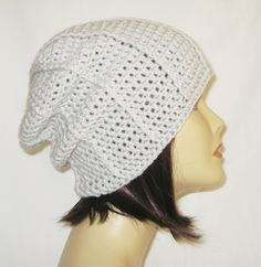"ribbed slouch,beanie,hat,cap,slouch,hand crochet, unisex fits teens and adults 21-23"" inches Light Grey by Jeniebugs on Etsy"