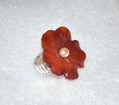 Carnelian Ring Flower Ring Carnelian Gemstone by jewelrybyirina, $16.50