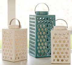 Shoreline Ceramic Lattice Lanterns - Ivory #potterybarn