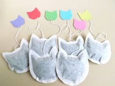 Cat Shaped Tea Bags set of 6, an unusual gift for Cat Lovers, Pastel Tags £4.80