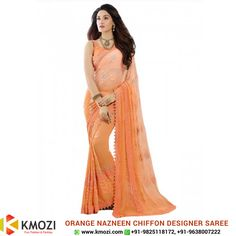 Buy the exclusive Orange Nazneen Chiffon Designer Saree for your upcoming occasion and play the eye catcher's role. Order online now or WhatsApp us at +91-9825118172 #Online #Valentine #fashion #shopping #onlineshopping #clothing #western #surat #mumbai #pune #chennai #kolkata #fashiondesigner #designer #onlinebuying #onlineselling #traditional #indianwear #occasion #fashionista #saree #black #orange