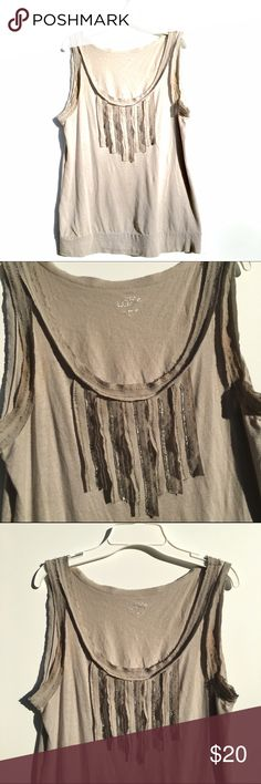 Tan Ann Taylor Loft Tank Top Sleeveless tan tank top by Ann Taylor Loft in excellent condition. Has a unique beaded and paneled striped design on the chest. The neckline and armholes are raw edge, similar to the design on the tank. LOFT Tops Tank Tops