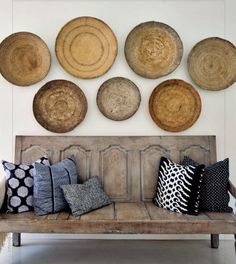 Wooden bowls +patterns + sofa