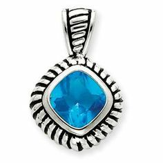 Sterling Silver Antiqued Blue Glass Pendant - JewelryWeb JewelryWeb. $52.30. Save 50% Off!