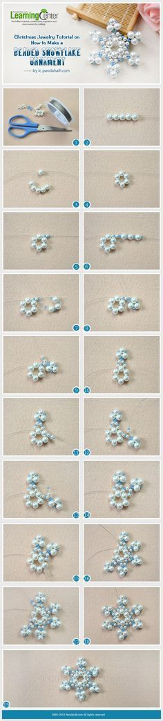 Christmas Jewelry Tutorial on How to Make a Beaded Snowflake Ornament. Cómo hac… Christmas Jewelry Tutorial on How to Make a Beaded Snowflake Ornament. Cómo hacer un copo de nieve. Beaded Christmas Ornaments, Snowflake Ornaments, Christmas Jewelry, Christmas Decorations, Beaded Snowflake, Christmas Projects, Holiday Crafts, Christmas Stuff, Christmas Balls