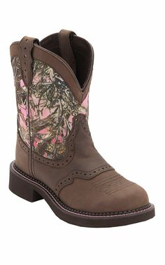 Justin Gypsy Collection Ladies Distressed Brown w/Pink True Timber Camo Top Round Toe Western Boots
