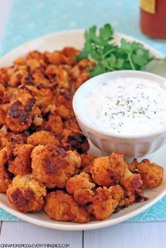 Buffalo Cauliflower with Ranch Yogurt Dip #appetizers #dinner